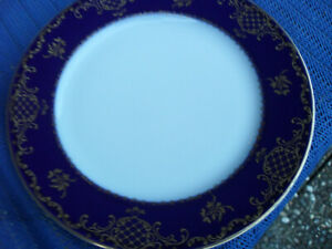 Kuchenteller Rosenthal Classic Rose Aida kobalt blau verzierter Goldrand