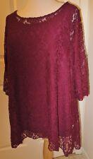 NWOT Womens Attitudes by Renee Lace Tunic & Jersey Knit Tank Set- Bordeaux - 2X