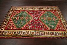 EXCELLENT Geometric south-western RED/GREEN Kashkoli Area Rug Vegetable Dye 5x7