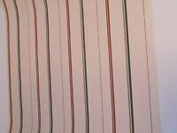 New Chesapeake Wallpaper Double Roll Green Red & Tan Stripes On Beige WP74041