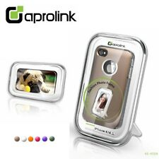 aprolink iPhone 4 4s Rubber Coating Case with Metal Ring Light (Goldish) Brown