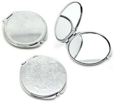 Vintage Silver Pocket Mirror Compact Double Side Makeup Cosmetic Round Portable