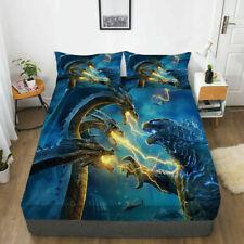 Godzilla Fitted Sheet 3PCS Bed Sheet Pillowcases Mattress Cover Bedding Set Gift
