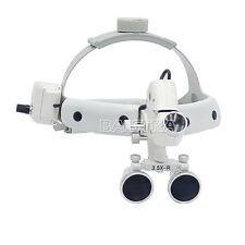 Dental Surgical Headband Binocular Loupes 3.5X-R with LED Light White