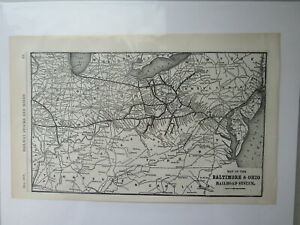 Original Vintage Map of the Baltimore & Ohio Railroad System  ~ 1910