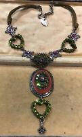 Vintage Bibi Signed Pink Green Diamanté Necklace