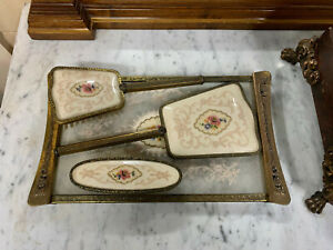 Vintage Brass, Petit Point and Lace Dressing Table Set