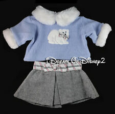 Build-A-Bear BLUE SWEATER, WHITE FUR, GRAY SKIRT SET Teddy Clothes 2B Outfit