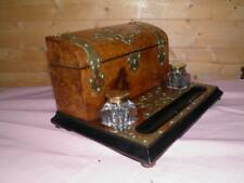 Antique Stationery Writing Box Inkwell Pen Holder -Walnut Burr-Brass Furnishings