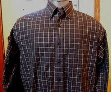 Brooks Brothers L/S Button Up Black Grey White Plaid Non Iron Shirt Mens Large