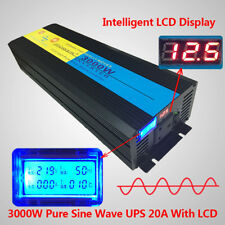 LCD 6000W peak 3000W Pure Sine Wave Power Inverter 12V DC to 230V AC UPS Charger