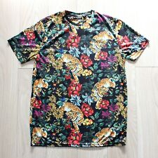 Brave Soul Tiger Print T-Shirt Oriental Chinese Floral Top Animal Safari Size L