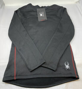 Spyder Pullover Fleece Lined Hoodie Black with Red MEN'S SIZE SMALL NWT