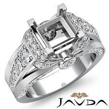Diamond Engagement Princess Semi Mount Ring 14k White Gold Pave Bezel Set 1.35Ct