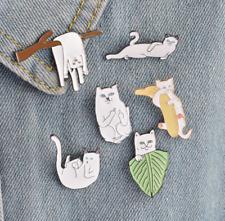 6PCS/Set Cartoon White Funny Lazy Cats Kitten Metal Brooch Pins Badge Pin Lapel