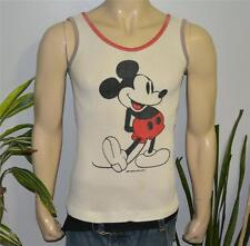 *60s 70s MICKEY MOUSE* vtg white ringer tank-top waffle shirt (S/M) Walt Disney