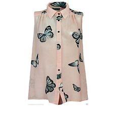 Ladies Chiffon Summer Blouse Sleeveless Butterfly Womens Button Top Vest Shirt 22-24 Peach