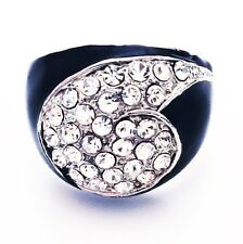 USA RING Rhinestone Crystal Fashion Gemstone Silver Black White SIZE-9 B2