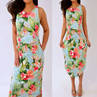 TOMMY BAHAMA Light Blue Green Pink Floral Sleeveless Midi Dress XS Extra Small