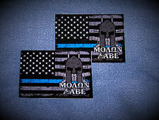 TWO Thin Blue Line Molon Labe Flag Stickers BEST QUALITY Sticker & SHIPS FREE!