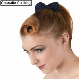 Banned Apparel Dancing Days Lovestruck Navy Blue Bow Hairband - 50s Retro Party