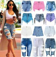 Women High Waisted Short Mini Jeans Denim Ripped Ripped Slim Shorts Hot Pants