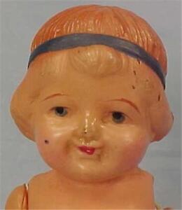 Little Girl Celluloid Doll Bobbed Hair Blue Headband Pink Socks Japan Vintage