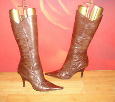 SUPERB BRONX BROWN LEATHER  WEDGE BOOTS  EU 38 *13*