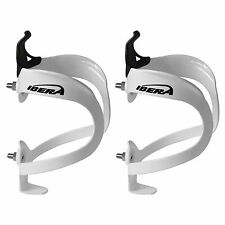 Ibera Bicycle White Lightweight Alloy Water Bottle Cage Pair Bike NEW BC5-WH-PR
