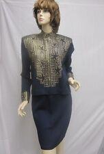 St. John Knit Navy Gold Piallettes Star Jacket Skirt Suit Size 6 8