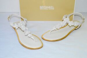 New $130 Michael Kors Tricia Thong ECRU White Leather Sandal Floral Accents