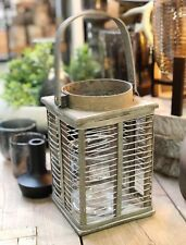 Windlicht Laterne grau Holz Metall Bambus Glaseinsatz Shabby chic Griff Landhaus