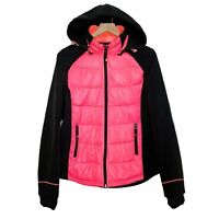 Halifax Traders Ski Down Puffer Fleece Full Zip Removable Hood Jacket Pink Large