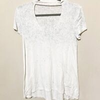 American Eagle Women's Soft & Sexy Speckled Choker Cut Out T-Shirt White Gray S