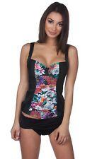 New ListingPanache Swim Annalise Wired Molded Swim Top Black Floral