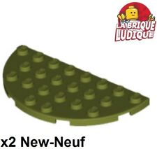 Lego 2x Plate Round Corner demi cercle rond 4x8 Dble vert olive green 22888 NEUF
