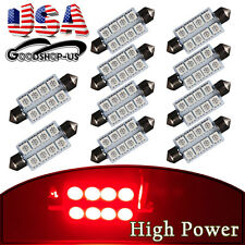 10Pcs Red 42MM 5050 8SMD Festoon Car Dome Map Interior LED Light bulbs 569 578