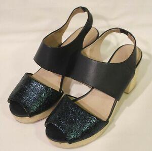 GORMAN ~ Navy Blue Metallic Teal Leather High Block Wooden Heel Sole Sandals 38