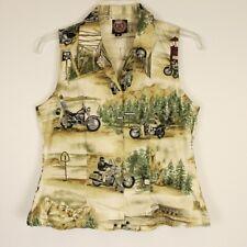 Harley Davidson Printed Motorcycle Vest Multicolor Womens Size Medium