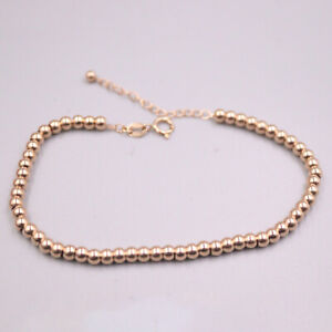 Pure 18K Rose Gold Chain Women Gift 3mm Smooth Beads Link Bracelet  2.1g