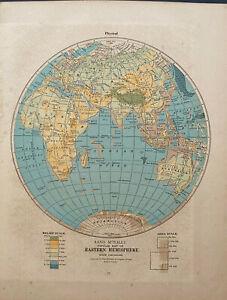 "EASTERN HEMISPHERE Rand Mcnally & Co 1927 Map Print 14"" x 11"" Premier Edition"