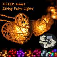 10 LED Heart-shaped Rattan String Fairy Light Lamp Wedding Party Home Xmas
