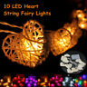 10 LED a Cuore Rattan Stringa Fairy Luce Lampada Festa Matrimonio Casa Natale