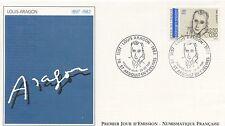 FIRST DAY COVER / PREMIER JOUR FRANCE 1991 / CELEBRITE / LOUIS ARAGON