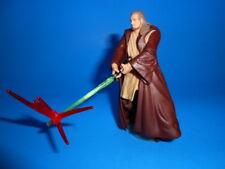 Star Wars 2002 EP1 Modern Style Jedi Master Qui Gon Jinn ~ Lightsaber Attack!