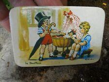 """Ancien miroir de poche glaçoide publicitaire de courtoisie """" le docteur """"enfants"""
