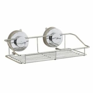 Iron Wall Shelf With Suction Cup Modern Bathroom Organizer Kitchen Storage Racks