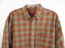 AUSTIN REED LONDON Orange gray plaid L/S button front shirt Mens SZ L 802-102*4