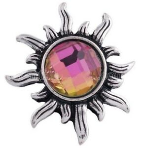 Silver Sun Rainbow Pink Faux Crystal 20mm Snap Charm Jewelry For Ginger Snaps