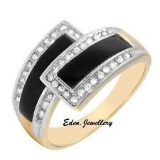 US$1859 Exquisite Two-Tone 14K Gold Genuine 0.25ctw Diamond & Onyx Ring 80% OFF